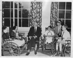Franklin Delano Roosevelt with polio survivors at Warm Springs, Georgia.