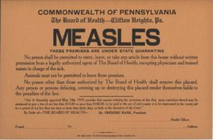 Measles quarantine sign